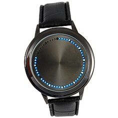 """Watch appears """"faceless"""" until you touch the screen. Then blue and white LEDs light up to indicate the time. Led Watch, Gag Gifts, Light Up, Jewelry Watches, Blue And White, Touch, Funny Gifts"""