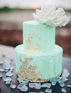 mint and gold leaf cake