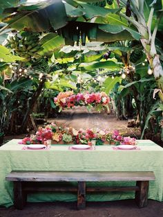 Banana grove wedding reception with tropical flower candelier   Jonathan Canlas Photography   see more on: http://burnettsboards.com/2014/06/tropical-banana-grove-inspiration-shoot/ #uniquewedding #destinationwedding