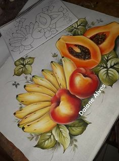 Fruit Painting, One Stroke Painting, Fabric Painting, Colour Pencil Shading, Art Drawings For Kids, Children Drawing, Fruit And Veg, Cool Paintings, Paint Designs