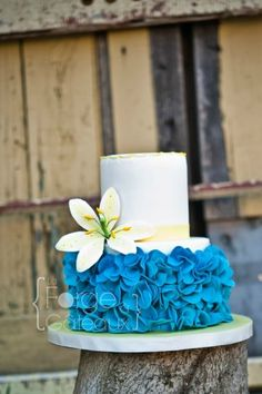 bold, blue ruffles on this cake made by marie-coccinelle. The simple lily really stands out against the bright color of the bottom tier.