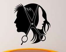 Hair Salon Wall Decal Vinyl Sticker Barber Shop Interior Mural Art Decor, Unisex