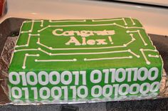 Computer Engineering graduation - Graduation cake for computer engineer grad.  Circuit board with class of 2012 written in binary code