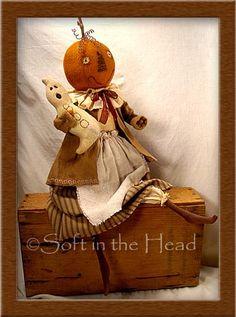 Primitive Folk Art Trinkets and Treasures Market Place Vintage Halloween, Halloween Crafts, Happy Halloween, Halloween Decorations, Primitive Fall, Primitive Folk Art, Primitive Crafts, Fall Pumpkins
