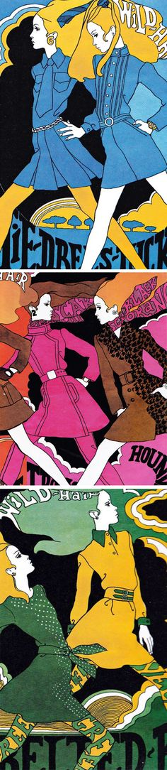 Illustrations by Antonio Lopez, originally for Intro Magazine 1967. ( retro llustration / 60s / Psychedelic Art / Mod Fashion / Retro Design )