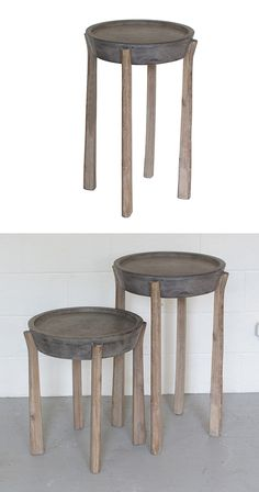 Add some rustic charm to any contemporary or transitional living space with this stunning table. Made with a handsome concrete tabletop and wonderfully worn wooden legs, this Marra Pedestal Table will ...  Find the Marra Pedestal Table, as seen in the #MarrakechModern Collection at http://dotandbo.com/collections/marrakechmodern?utm_source=pinterest&utm_medium=organic&db_sku=113559
