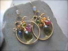 Gemstone wire Wrapped Fantasy Earrings by Sylviajewelry on Etsy, $176.00