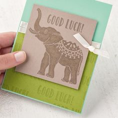 Lucky Elephant Wood-Mount Stamp Set by Stampin' Up!