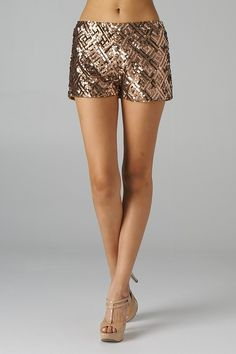 Diamond Pattern Sequined Shorts