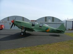 Ulster airshow press day 2003, Newtownards, County Down. HFLs Supermarine Spitfire T9, in Irish Air Corps colours.