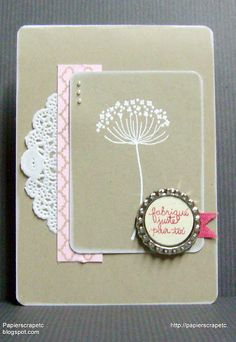 handmade card from papierscrapetc: Cartes fêtes des mères ... Mojo Monday Sketch #387 ... kraft base with pink and cream ...