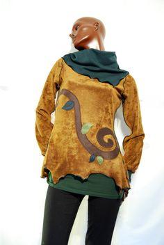 Suéter marrón espiral, cuello alto élfico pixie árbol OOAK de PinkyPurpleTree en Etsy https://www.etsy.com/es/listing/210671037/sueter-marron-espiral-cuello-alto-elfico