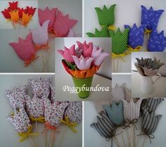 Tulipánky Felt Crafts, Easter Crafts, Fabric Crafts, Diy And Crafts, Arts And Crafts, Diy Flowers, Fabric Flowers, Fabric Fish, Sewing Projects
