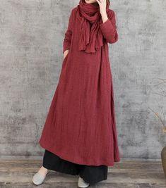 Linen maxi dress, dark red dress women, black maxi dress, floor length dress, dress women - Corner of Woman Mode Abaya, Mode Hijab, Modest Dresses, Casual Dresses For Women, Maxi Dresses, Dress Casual, Dance Dresses, Dark Red Dresses, Red Gowns