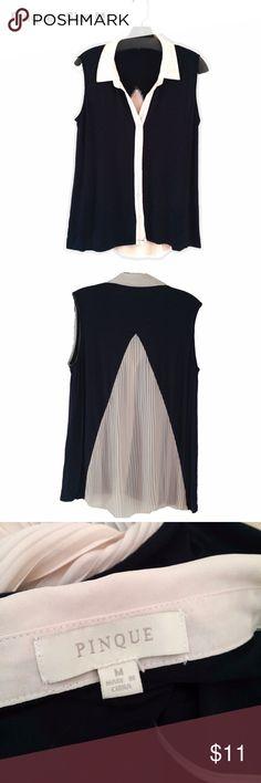 PINQUE - Black & Cream Blouse - Size M Condition - Very good.  Measurements  Shoulders - 16 Chest - 40 Waist - 40 Hips - 40 Length -  Front 24, Back 29 Pinque Tops Blouses