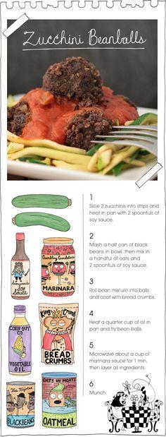 The vegan stoner: zucchini beanballs. recipes with cute ingredient illustrations. whole foods 4 healthy living Veggie Recipes, Whole Food Recipes, Vegetarian Recipes, Pasta Recipes, Sloppy Joe, Vegan Foods, Vegan Dishes, Vegan Life, Raw Vegan