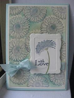 handmade card .... soft blues, grays , lavenders ... like the embossed and die cut frame in white that serves as the focal point ... Stampin' Up!