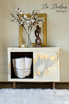 Metallic silver and gold leaf finish for furniture.