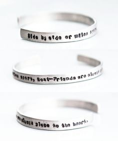 Side By Side Or Miles Apart, Best Friends Are Always Close To The Heart - open ended Aluminium bracelets - best friend or sisters gift