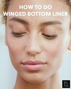 Living for this mellow yellow ticked-up bottom liner on yathegod Eyeliner unframethebeauty Liquid Eyeliner in Yellow Makeup artistry bykarla Perfect Winged Eyeliner, Winged Eyeliner Tutorial, Winged Liner, Makeup Goals, Makeup Inspo, Makeup Inspiration, Beauty Makeup, Eyeliner Make-up, Bottom Eyeliner