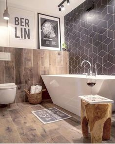 35 Stunning Modern Farmhouse Bathroom Decor Ideas Make You Relax In 2019 - Googodecor Bathroom Tile Designs, Bathroom Floor Tiles, Bathroom Wall Decor, Bathroom Interior, Master Bathroom, Bathroom Ideas, Bathroom Black, Tile Floor, Bathtub Decor