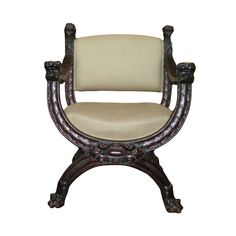 Italian Carved Walnut Renaissance Style Chair   From a unique collection of antique and modern armchairs at https://www.1stdibs.com/furniture/seating/armchairs/