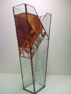 Stained Glass Autumn Vase by Unikke Glas ~ All designs are the property of Unikke Glas, copyright protected, and not subject to use by any persons or entities outside of Unikke Glas.