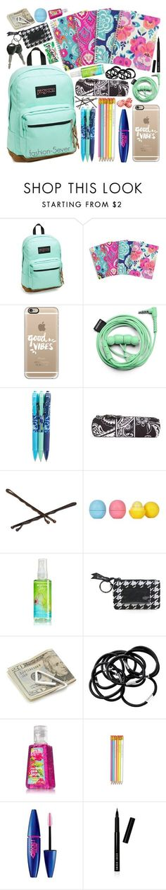 """""""What's in my backpack ft. my new backpack!"""" by itsfashion-5ever ❤ liked on Polyvore featuring JanSport, Casetify, Urbanears, Vera Bradley, Goody, Eos, Crate and Barrel, H&M, Maybelline and Bobbi Brown Cosmetics"""