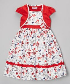 Take a look at this Red Flower Ruffle Dress & Shrug - Infant, Toddler & Girls by Donita on #zulily today!