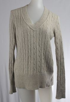 325caded5f ANN TAYLOR LOFT Medium Gold Khaki V-Neck Long Sleeve Sweater  Express  VNeck