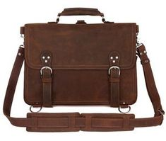1495f835c956 Image of Large Crazy Horse Leather Briefcase Messenger Computer Bag Double  Compartments Travel Tote Bag Leather