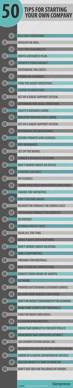 50 Tips For Starting Your Own Company ideas business infographic company business tips business ideas inforgraphics startup entrepreneurship startups entrepreneurship ideas entrepreneurship tips small business Marketing Online, Inbound Marketing, Business Marketing, Business Launch, Business Entrepreneur, Entrepreneur Ideas, Marketing Training, Content Marketing, Media Marketing