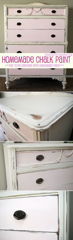 Technique | CHALK PAINT / DISTRESSING :: Homemade Chalk Paint Distressed Dresser Tutorial :: She made her own chalk paint (but decreased the grittiness by first adding a bit of water to the grout to dissolve--recipe included), sanded around the edges & finished off by polishing on Howard citrus-shield paste wax (Home Depot) w/ a rag. She also tells the colors of paint she used. :: I just LOVE the distressing on this piece. | #classyclutter