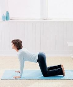 Cow and Cat Yoga Poses warm up the muscles along the spine; stretch the hips, back, abs, shoulders, and neck.