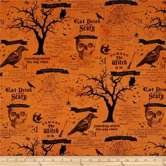 Something Wicked Large Allover Orange from @fabricdotcom  Designed by Stephanie Marrott for Wilmington Prints, this cotton print is perfect for quilting, apparel and home decor accents. Colors include orange and shades of black.