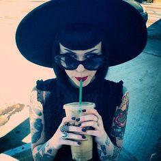 sunglusses black hat tattoo pinup coffee sturbacks