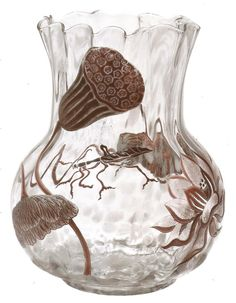 Emile Galle  c, French, 1846 - 1904. Vase with waterlillies, late 19th century. Gold cameo glass.