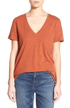 Free shipping and returns on Madewell Slub Pocket V-Neck Tee at Nordstrom.com. A deep V-neck tops a classic pocket tee spun from soft slub cotton in a spectrum of colors that add punch to your everyday wardrobe.
