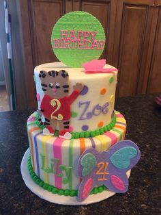 Daniel the tiger and butterflies birthday cake