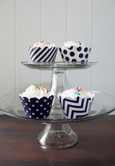 12 Navy Blue Cupcake Wrappers - PICK YOUR PATTERN - Blue Cupcake Wrappers - Great for Birthday Parties, Baby Showers & Wedding Receptions