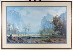 "Lot 185: Albert Bierstadt (American, 1830-1902) ""Looking Up the Yosemite Valley"" Print; Undated, printed signature lower right"