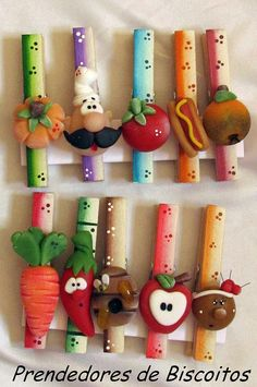 clothes pins ■ would be great made with flat clothespins and heavy magnet on back. Fimo Clay, Polymer Clay Projects, Polymer Clay Creations, Polymer Clay Art, Clay Beads, Diy And Crafts, Crafts For Kids, Paper Crafts, Clay Magnets