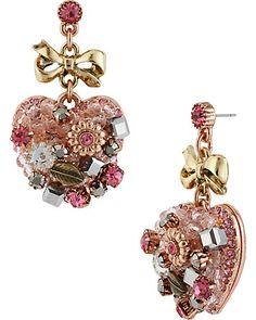 VINTAGE HEART DROP EARRING PINK - Valentine's Day earrings