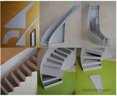 Pikkuprinsessan nukkekoti Willa Helmiina/Dollhouse to my little Princess: Kaarevat portaat pahvista/Curved staircase made of cardboard...