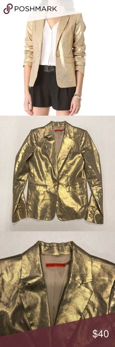 ALICE + OLIVIA ELYSE METALLIC GOLD BLAZER (S) 100% Authentic Pre-Loved ALICE + OLIVIA Elsye metallic gold blazer   Gently worn in excellent condition   Size: Small   Thank you for looking at my closet and please contact me with any inquiries. Have a awesome day! Alice + Olivia Jackets & Coats Blazers