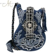 Mary Frances Handbag Melody Beaded Jeweled Denim Blue Guitar Shoulder Bag Purse | eBay