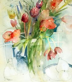drawing and watercolor - composition - Shirley Trevena Easy Watercolor, Watercolor Artists, Abstract Watercolor, Watercolor Illustration, Watercolour Painting, Watercolor Landscape, Watercolor Flowers, Watercolors, Watercolor Portraits
