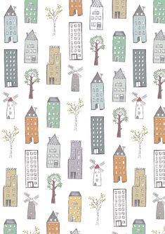 Wrapping paper houses La Cittá by alinear on Etsy
