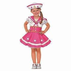 Adorable Sailor Sweetie costume. Size Toddler 12 to 24 Months. Dress, Hat, Collar, and Faux Belt. Weight: 22 to 27.5 lb. / 9.98 to 12.5 kg.