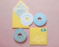 Donut Party, Donut Invitation, Donut Birthday Party Invite, Die Cut, Pink Donut Sprinkles, Donut Bridal Shower, Donut Baby Shower, Doughnut by PaperBuiltShop on Etsy https://www.etsy.com/listing/286447263/donut-party-donut-invitation-donut